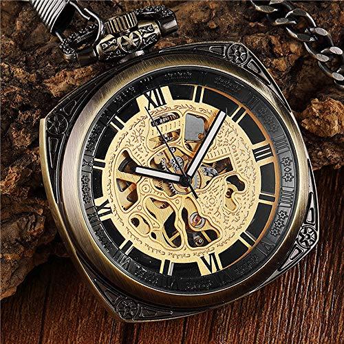 CAIDAI&YL Reloj de bolsillo mecánico de acero con esfera cuadrada retro vintage para hombres escultura esqueleto hueco steampunk reloj de bolsillo conjunto mujeres hombres regalos, bronce