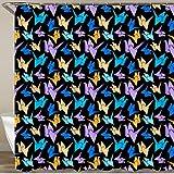 KGSPK Cortinas de Ducha,Origami Crane Seamless Pattern Vector Stylize Crane -264239096,Impermeable Cortinas Baño y Lavables Cortinas Bañera 180x180CM