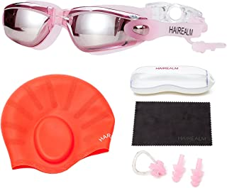 HAIREALM Myopia Swimming Goggles(Prescription 0-8.0 Diopters) +Swimming Cap+Case+Nose Clip and Ear Plugs+Dry Cloth, No Leaking Anti-Fog UV Protection for Adult Men Women Youth Kids