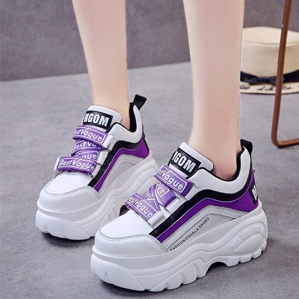 Toride Femmes Plate-Forme Formateurs Chaussures Talon compensé Sport Occasionnel athlétique Fond épais Printemps Automne Respirant Dames Baskets maladroites Violet
