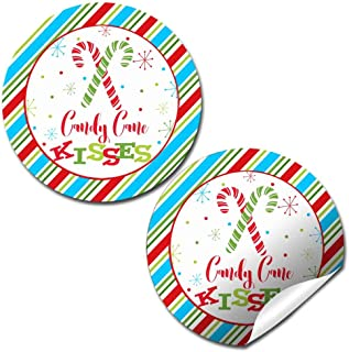 Candy Cane Kisses Christmas Thank You Sticker Labels, 40 2