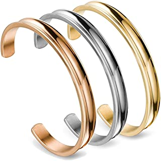 WUSUANED Hair Tie Bracelet Stainless Steel Grooved Cuff Bangle Gift for her