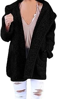 UONQD Womens Soft Teddy Sherpa Fleece Hooded Jumper Hoody Jacket Coat With Pocket
