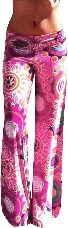 UBST Women's Pajama Pants, Women Wide Leg Lounge Pants Pajama Bottoms Floral Yoga Palazzo Pants Elastic Sweatpants