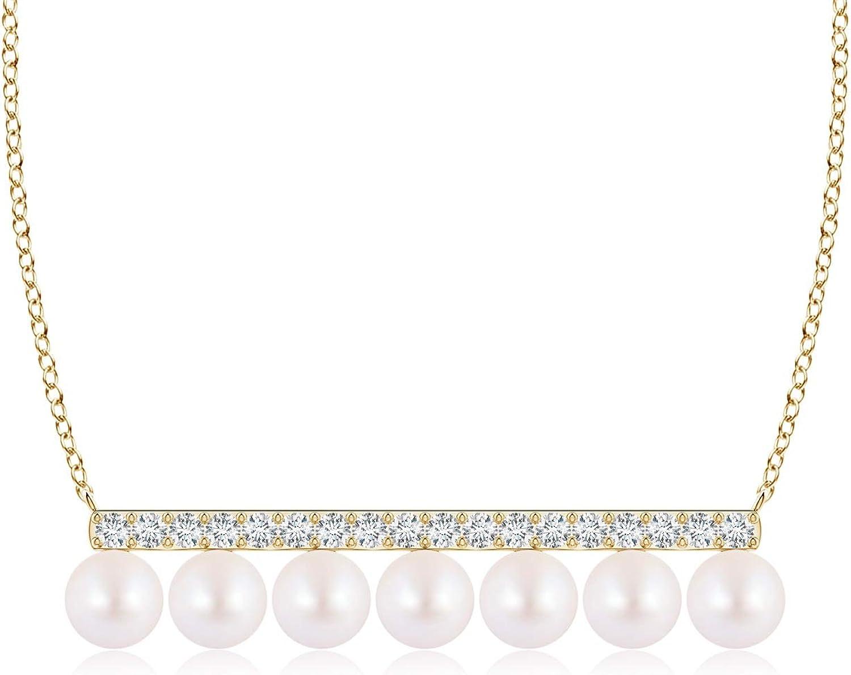 Japanese Akoya Cultured Pearl and Diamond Bar Necklace (4mm Akoya Cultured Pearl)