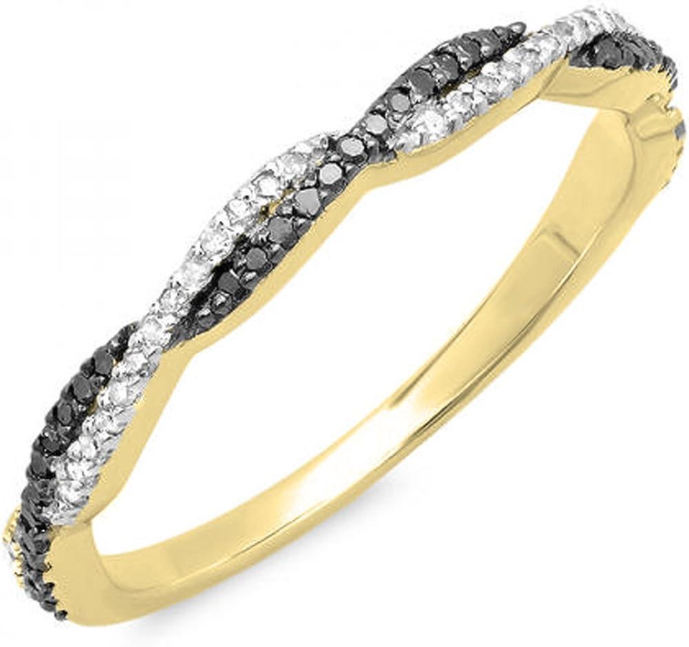 Dazzlingrock Collection 0.25 Carat (ctw) 18k Gold Round Black & White Diamond Ladies Wedding Band Swirl Stackable Ring 1/4 CT