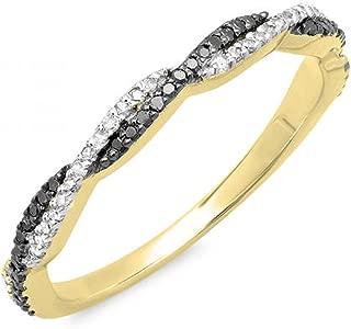 Dazzlingrock Collection 0.25 Carat (ctw) 10K Gold Round Black & White Diamond Swirl Wedding Stackable Band 1/4 CT