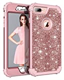 Lontect for iPhone 8 Plus Case, iPhone 7 Plus Case Glitter Sparkle Bling Heavy Duty Hybrid Sturdy High Impact Shockproof Protective Cover Case for Apple iPhone 8 Plus/iPhone 7 Plus, Shiny Rose Gold