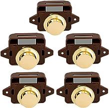 Deurslot 5 stks Keyless Push Button Vangdeur Knop Lock voor RV Caravan Cabinet Boat Motor Thuis Kast, Bruin Goud Veilig, a...