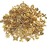 200Pcs Tibetan Antique Gold Charms Bulk Bracelet Necklace Pendants for DIY Jewelry Craft Making