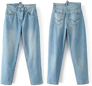 NQFL Casual Denim Jeans Manera Europea y Americana Delgado Calle Zanahoria Pantalones de Las Mujeres (Color : B, Size : S)