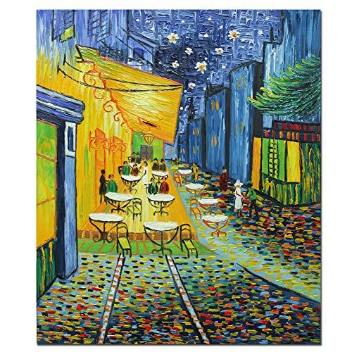 Fokenzary - Pintura de reproducción de Terraza de café por la noche de Vincent Van Gogh, lona, 20x24in