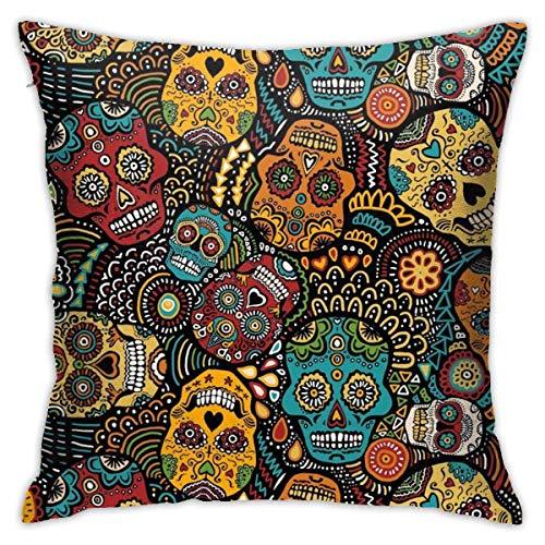 phjyjyeu Fundas de almohada mexicanas con calaveras de azúcar para sala de estar, decoración del hogar, funda de cojín para sofá, cojín cuadrado, 45,7 x 45,7 cm, fundas de almohada de 45,7 x 45,7 cm