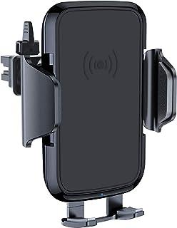VANMASS 車載ホルダー Qi ワイヤレス充電器 5W/10W スマホ 急速充電 半自動式 自由に調節 車用 ワイヤレス 充電器 エアコン吹き出し口 温度管理 過充保護 安定性抜群 車載充電器 スマホホルダー Qi認証済み iPhoneX/iPhoneXR/8/8 Plus/GalaxyS9/S9+/S8/S8+ その他Qi対応機種