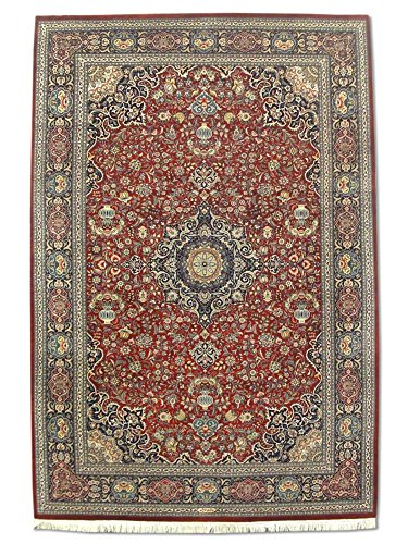 Pak Persian Rugs Handgeknüpfter Kashan Teppich, Burgunderrot/Rot, Wool/Art. Silk, Medium, 186 X 276 cm