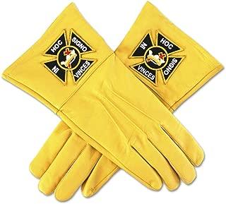 Knights Templar Yellow Leather Masonic Gloves