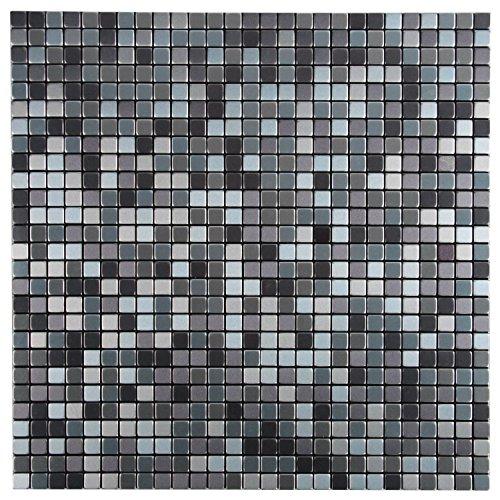 Royllent-Spazzola in alluminio, design moderno, in metallo, motivo: Mosaico di mattonelle & Backsplash Accent Peel Stick-Decorazione da parete per TV da parete da bagno & fondo divano a 1 FT2: Argento