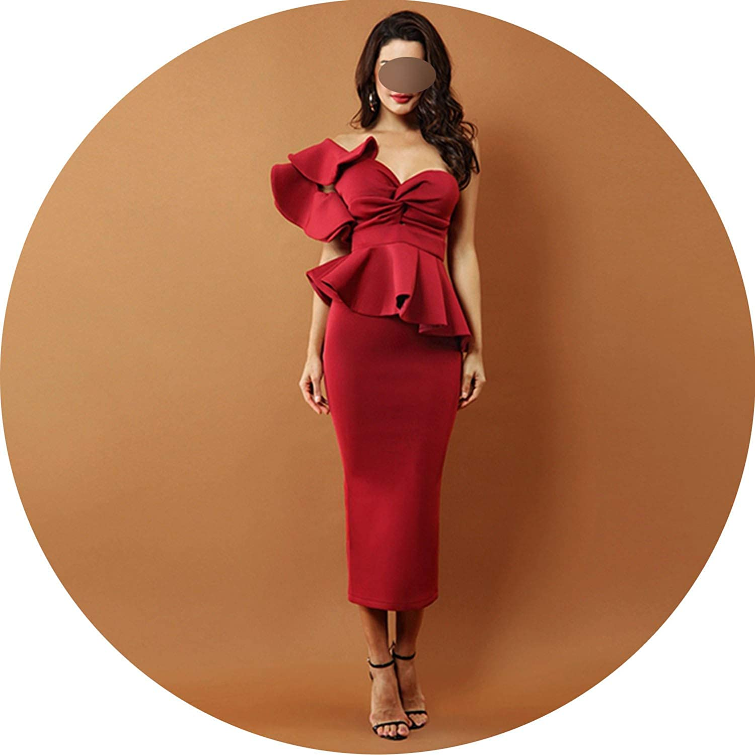 Celebrity Evening Party Dress Women Sexy One Shoulder Ruffles Short Sleeve Strapless Dress Vestidos