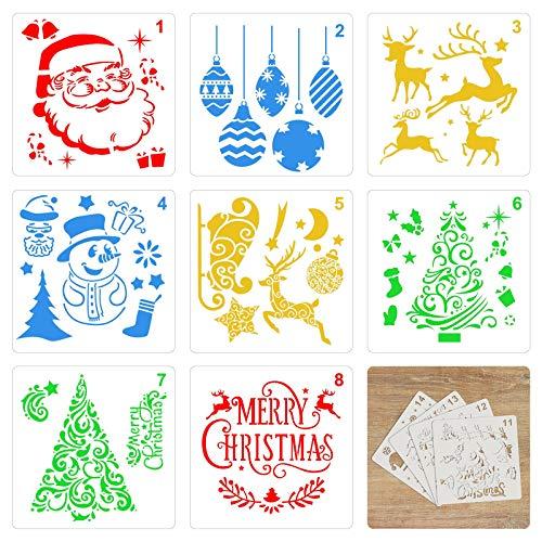 TAZEMAT 30 Hojas Navidad Plantillas para Pintar Plantilla Navideña para Manualidades DIY Artesanía Sténcil para Dibujar Papá Noel Árbol de Navidad sobre Papel Ventana Madera Reutilizable 13 × 13cm