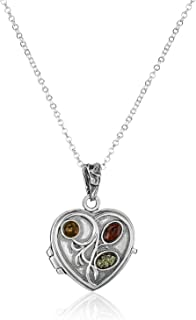 Multicolor Amber Sterling Silver Heart-Shaped Locket Pendant Rolo Chain 18 Inches