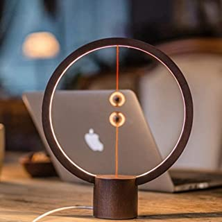 ALLOCACOC Heng balance lamp - Round magnetic mid-air switch USB powered LED lamp, Warm Eye-Care LED Lamp, Night Lamp, Table Lamp, Decoration for Bedroom, Living Room, Dining Room and Office (DarkWood)
