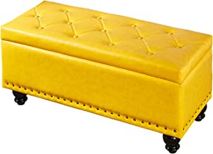 JQQJ Ottomans Bench Faux-Leather Rectangular Storage Ottoman Bedroom Bench Foot Stool Storage Benches for Home (Color : Yellow, Size : 60x40x42cm)