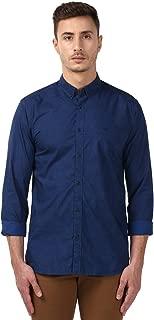 Park Avenue Full Sleeve Regular Collar Slim Fit Medium Blue Cotton Printed Shirt for Men