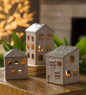 ACCENT DECOR,INC Ceramic Holiday Village Tealight Holders, Set of 3