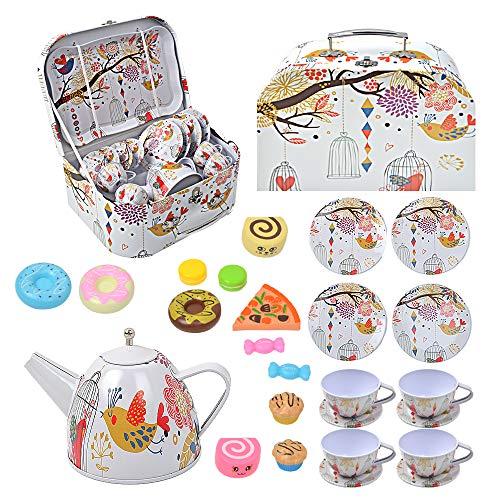 Juego de té para bebés, juego de té de hojalata de juguete de 14 niños + 1 estuche portátil + 9 juguetes para refrigerios, juego de té de juguete de diseño colorido ilustrado para(paquete de 24)