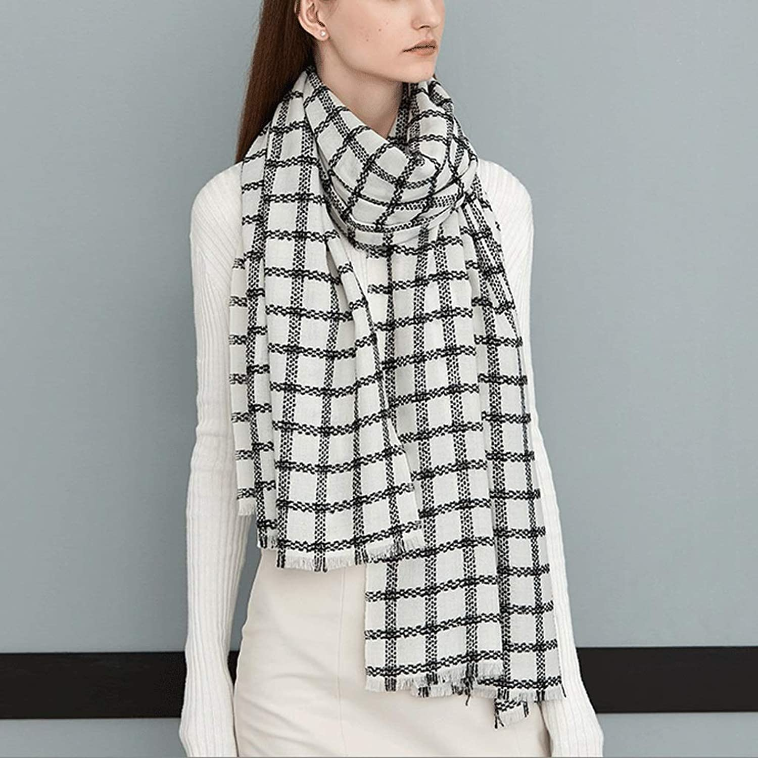 CCF Winter Lattice 200cm×70cm Scarf Both Uses Woman Keep Warm Shawl Multiple colors V (color   White)