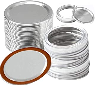 IceRosin 24 Pcs Wide Mouth Canning Lids and Bands, Stainless Steel Lids for Mason Jar Splits-type Lids Leakproof (86mm)