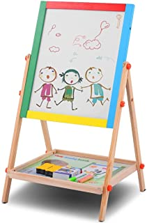 GOFLAME Wooden Easel Height Adjustable, 2 in 1 Double Sided Drawing Board with Lower Storage Tray, Kid's Art Easel Dry Erase Board with Accessories (Black and White)
