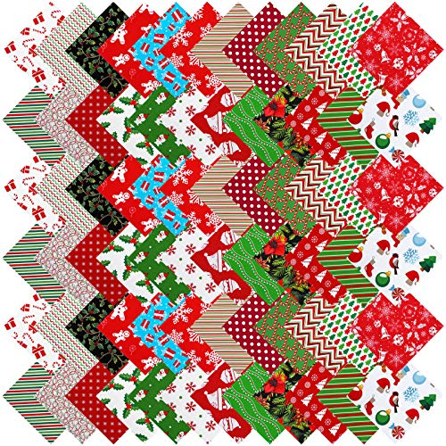 Aneco 72 Pieces Christmas Cotton Fabric 24 Different Christmas Printing Fabric Squares Sewing Fabric Christmas Decorative Cotton Fabric DIY Fabric