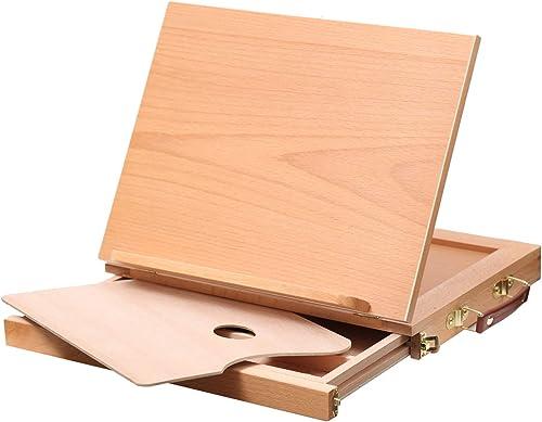 MEEDEN Tabletop Sketchbox Easel - Adjustable & Portable Beech Wood Artist Easel Desktop with Storage Box and Palette ...