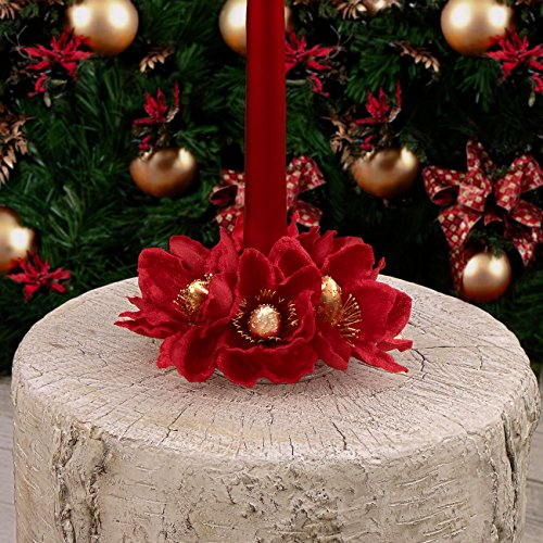 EDG ENZO DE GASPERI Ghirlanda Centrotavola Girocandela con Supporto Natale Shabby Chic Magnolia Velluto Rosso Diametro 10 cm
