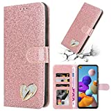iPEAK For Samsung Galaxy A21s Case Shiny Leather Bling Glitter Book Flip Stand Wallet Cover For Galaxy A21s Phone (Rosegold)