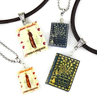 Pride and Prejudice Jane Austen Clay Mini Book Bead Pendant Necklace Chain Cord Extender Unisex