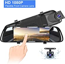 Backup Camera 7 Inch Full HD Mirror Dash Cam, Touch Screen 1080P Front and Rear Dual Lens with Waterproof Rear View Camera