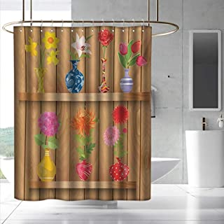 Fakgod Daffodil Shower Curtain with Hooks Glass Vases with Colorful Flowers on Wooden Shelves with Pastel Effects Artsy Graphic Shower Curtains in Bath W108 x L72 Multi
