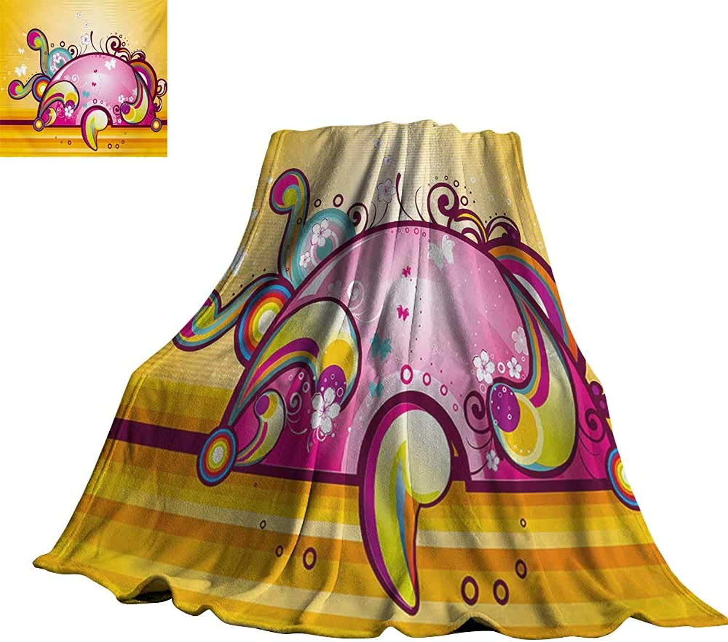 RenteriaDecor Fantasy,Throws Cute colorful Shapes with Spiral Swirled Lines Vibrant Girls Kids Nursery Design for Couch Bed Living Room 70 x50