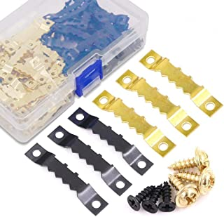 Rustark 120Pcs Heavy Duty Sawtooth Picture Hangers Frame Hanging Hangers Double Hole with Screws - 2 Colors, Golden and Black