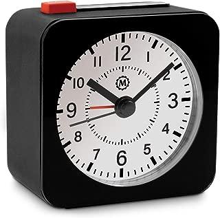 Marathon CL030065BK-WH2 Mini Travel Alarm Clock. No Ticking, Auto Back Light and Snooze Function. Color-Black Case/White Dial