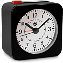 Marathon Mini Travel Alarm Clock, Silent Sweep, No Ticking, Auto Back Light and Snooze Function - CL030065BK-WH2 (Black Case/White Dial)