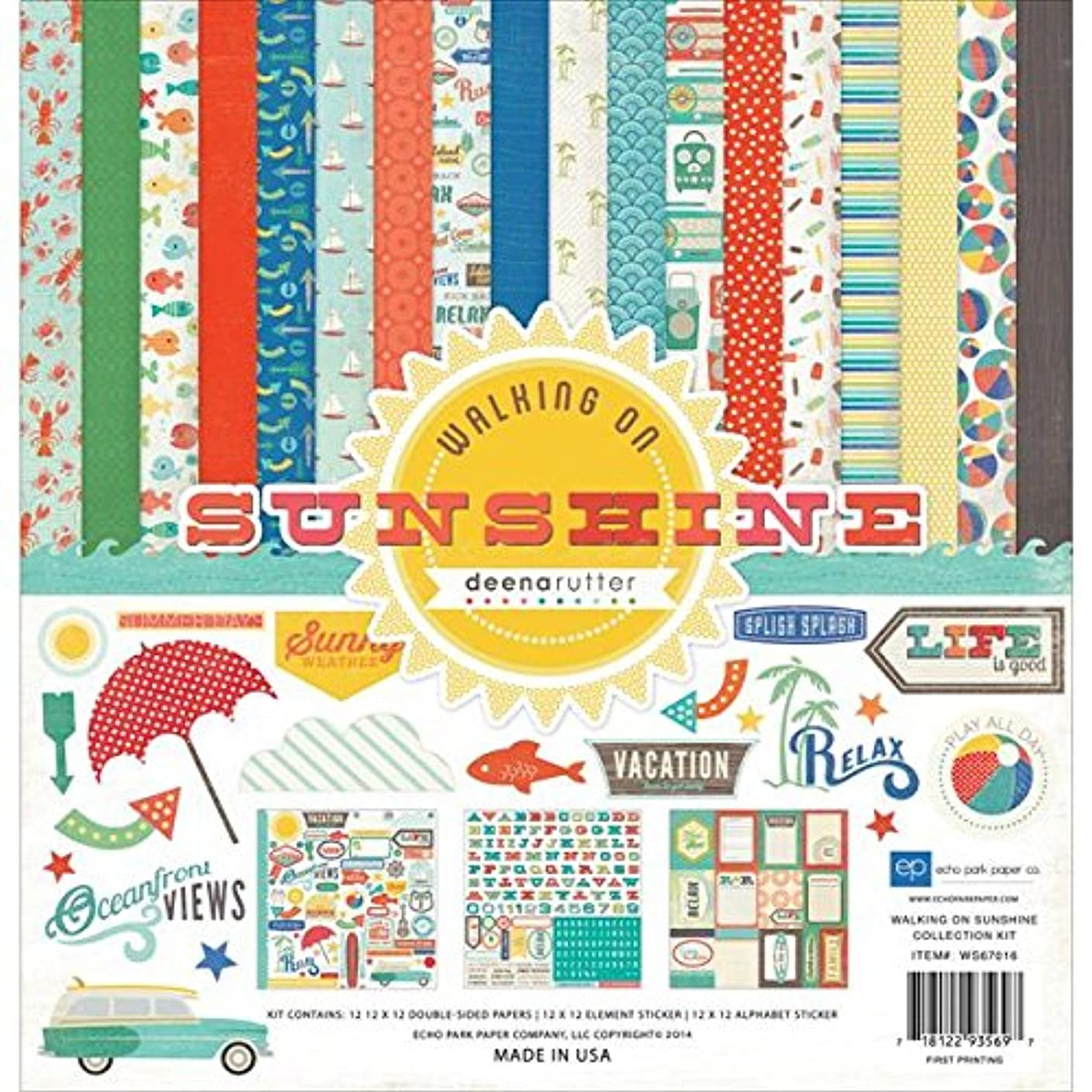 Echo Park Paper Company WS67016 Walking on Sunshine Collection Kits Scrapbook
