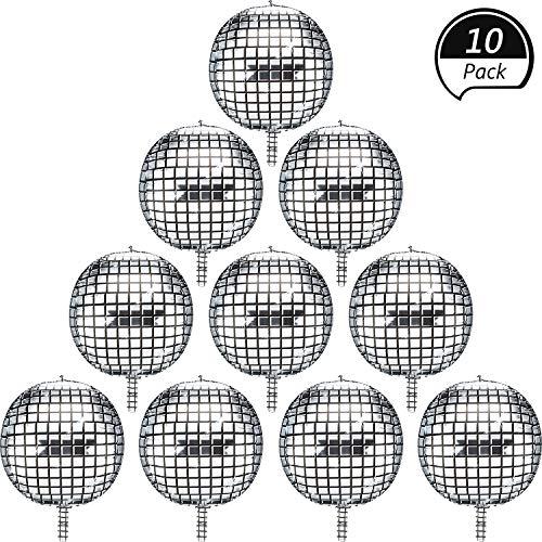 Disco Folien Ballons Aluminium Mylar Helium Luftballons 10 Stück 22 Zoll Silber 4D Großer Spiegel Metallisch Luftballons für Disco Tanzen Party Geburtstag Party Hochzeit Baby Dusche
