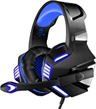 VersionTECH. Stereo Gaming Headset for Xbox One, PS4, PC, Noise Isolating Over Ear Headphones with Mic,LED Light, 50mm Driver, Volume Control for Nintendo Switch(Audio),Laptop,Computer Games -Blue