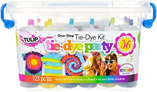 Tie Dye Party Kit – 123 Piece Do It Yourself Tie Dye Kit – 18 2.75 Ounce Squeeze Bottles with Dye, 90 Rubber Bands, 12 Protective Gloves, Reusable Storage Tub and Surface Cover, Project Guide