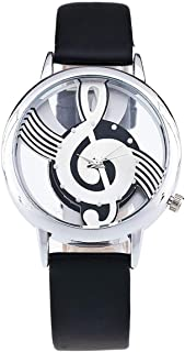 Wristband Women Wristwatch Lady Quartz Watch Round Dial Leather Strap Music Pattern Female Watch 1939
