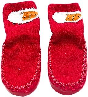 Wimagic 1 par de Calcetines de bebé para niños y niñas, Lindos Calcetines de algodón con Dibujos Animados, Antideslizantes, cálidos, Transpirables, para niños pequeños, algodón, Rojo, S(10-18 Months)