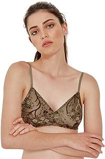 BLACK LIMBA Velvet Triangle Bra Women Olive Green